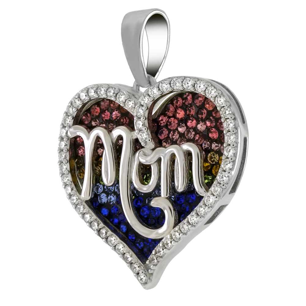 Sterling Silver Multi Color Crystal MOM Heart Pendant