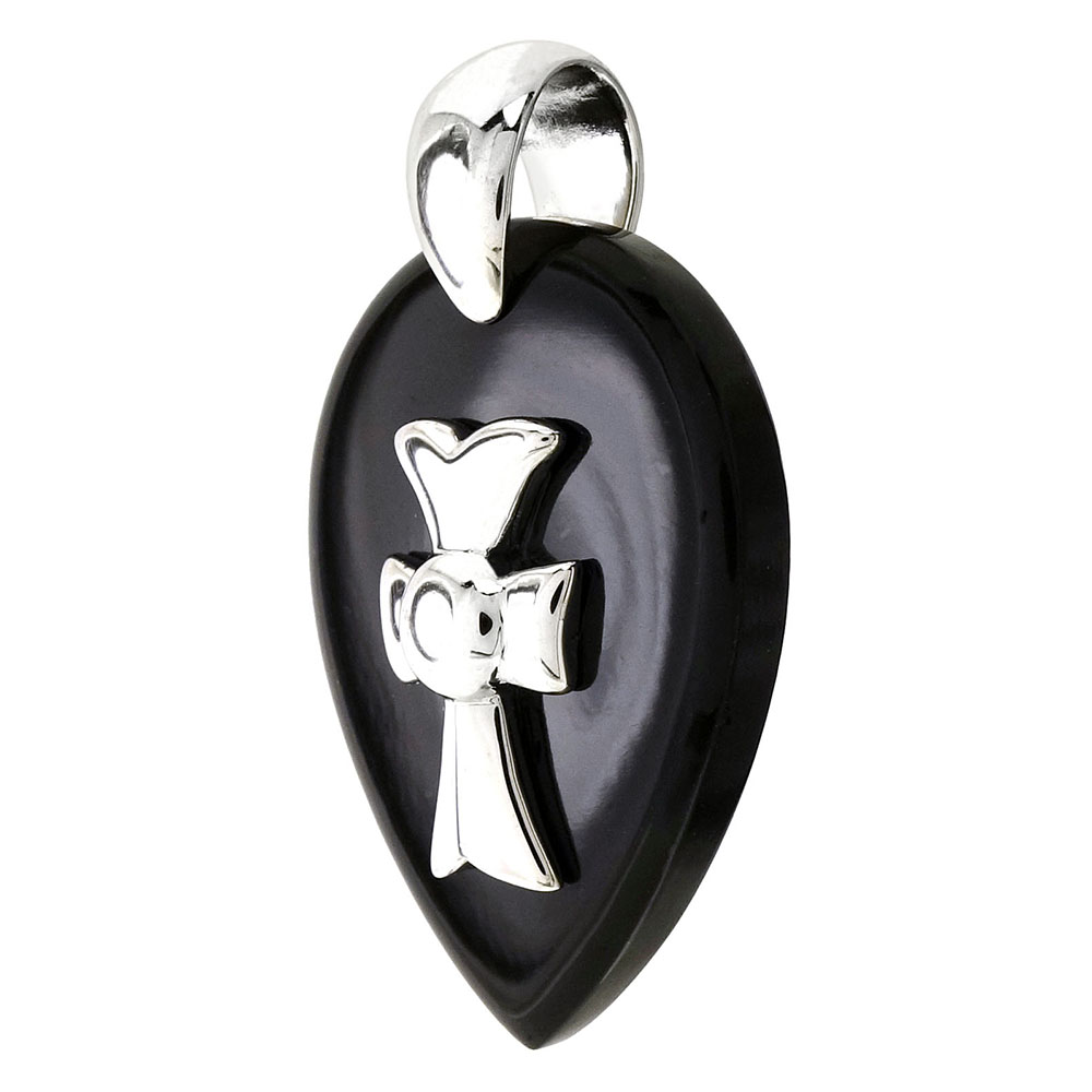 Sterling Silver Cross W. Black Onyx Pendant