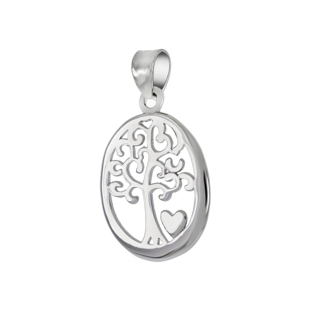 Sterling Silver Tree Of Life Oval Rhodium Pendant