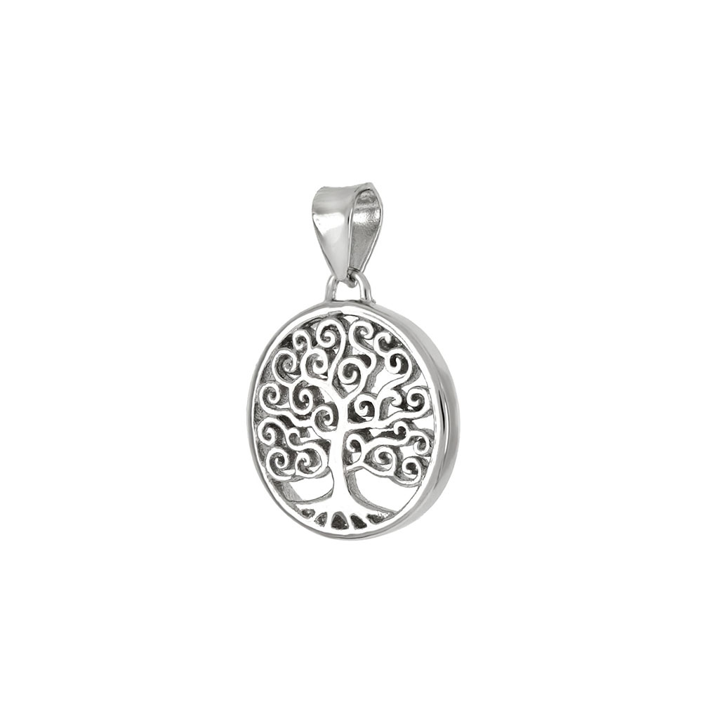 Sterling Silver Tree Of Life Rhodium Pendant
