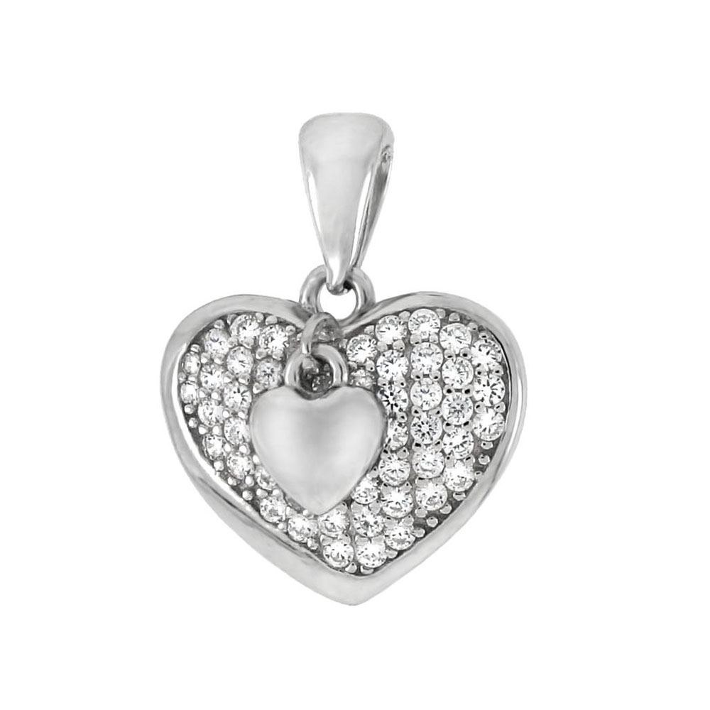 Sterling Silver Double Heart Pave CZ Pendant