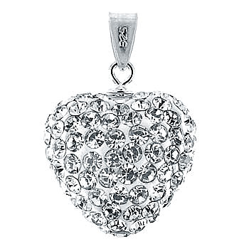 Sterling Silver White Crystal Heart Pendant