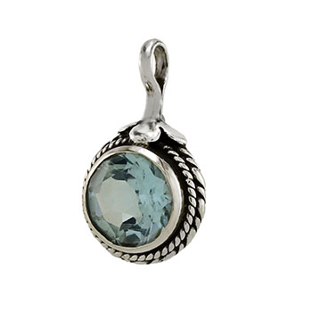 Sterling Silver Genuine Blue Topaz Oxidized Pendant