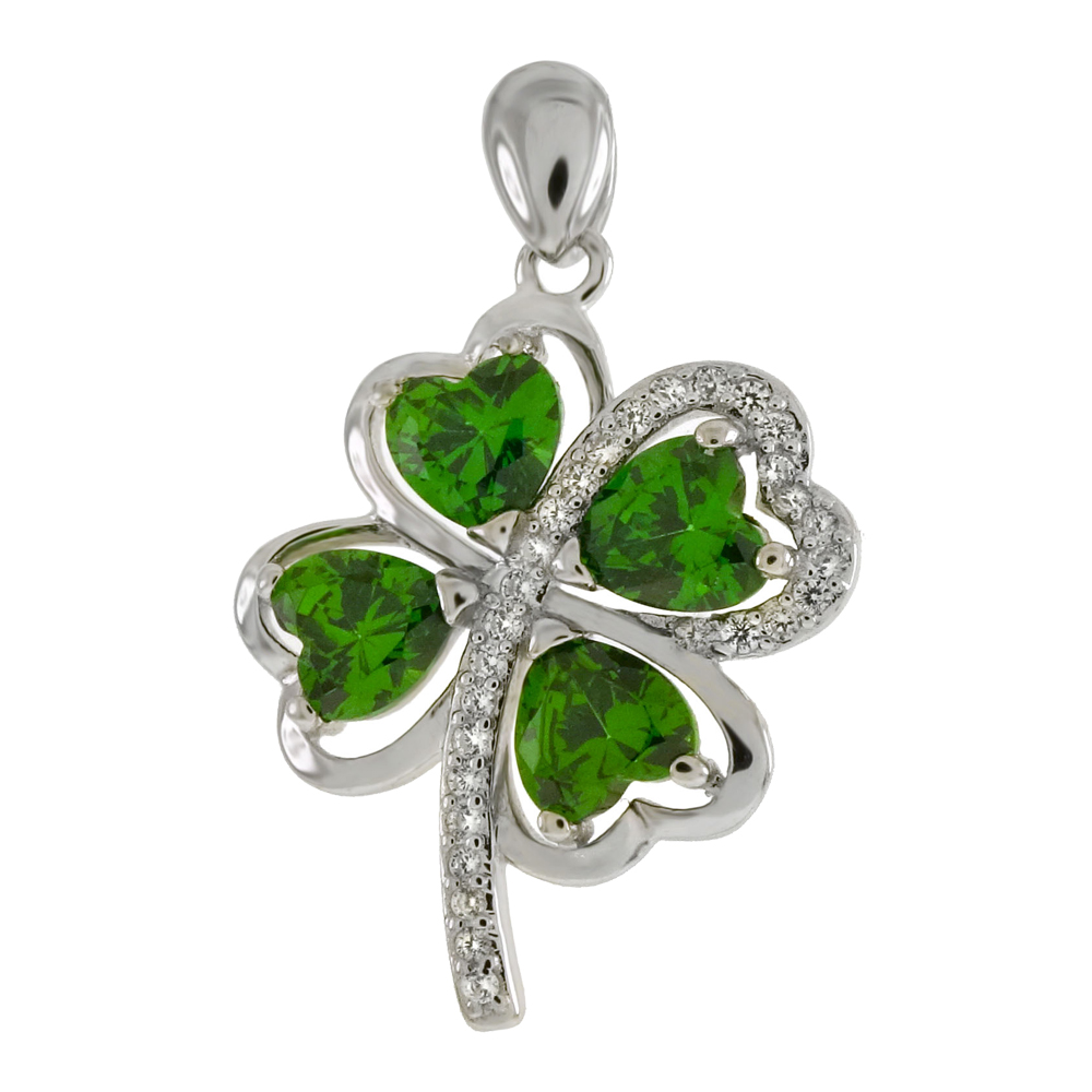 Sterling Silver Four Leaf Clover Emerald CZ Pendant