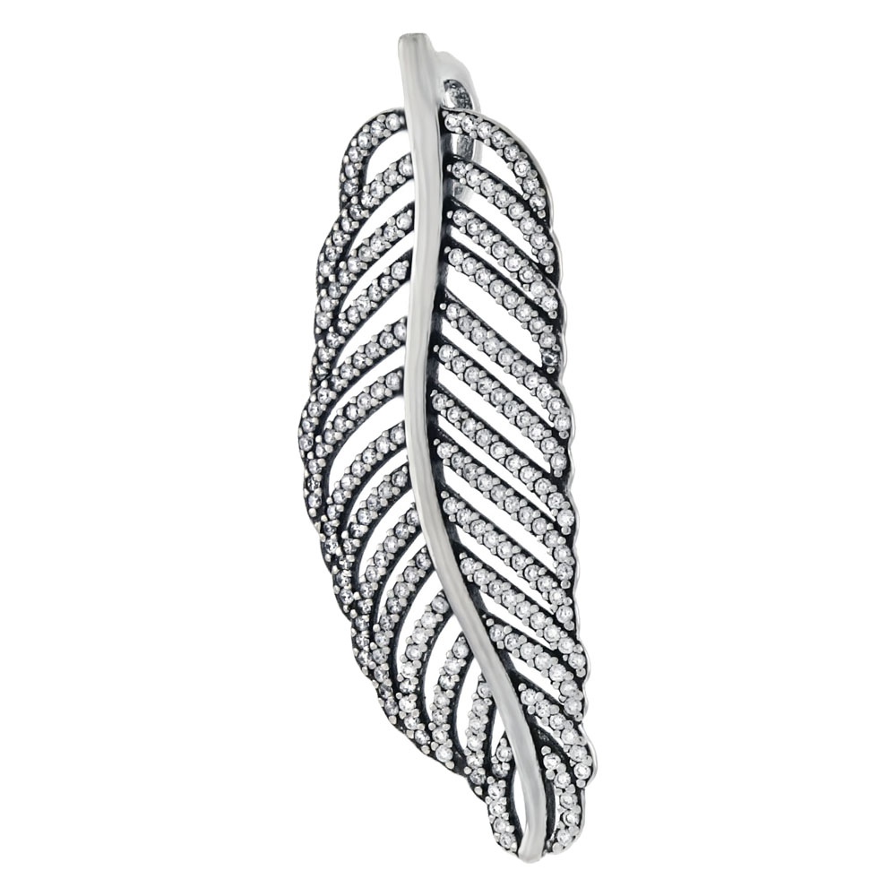 Sterling Silver Pave Cubic Zirconia Feather Pendant