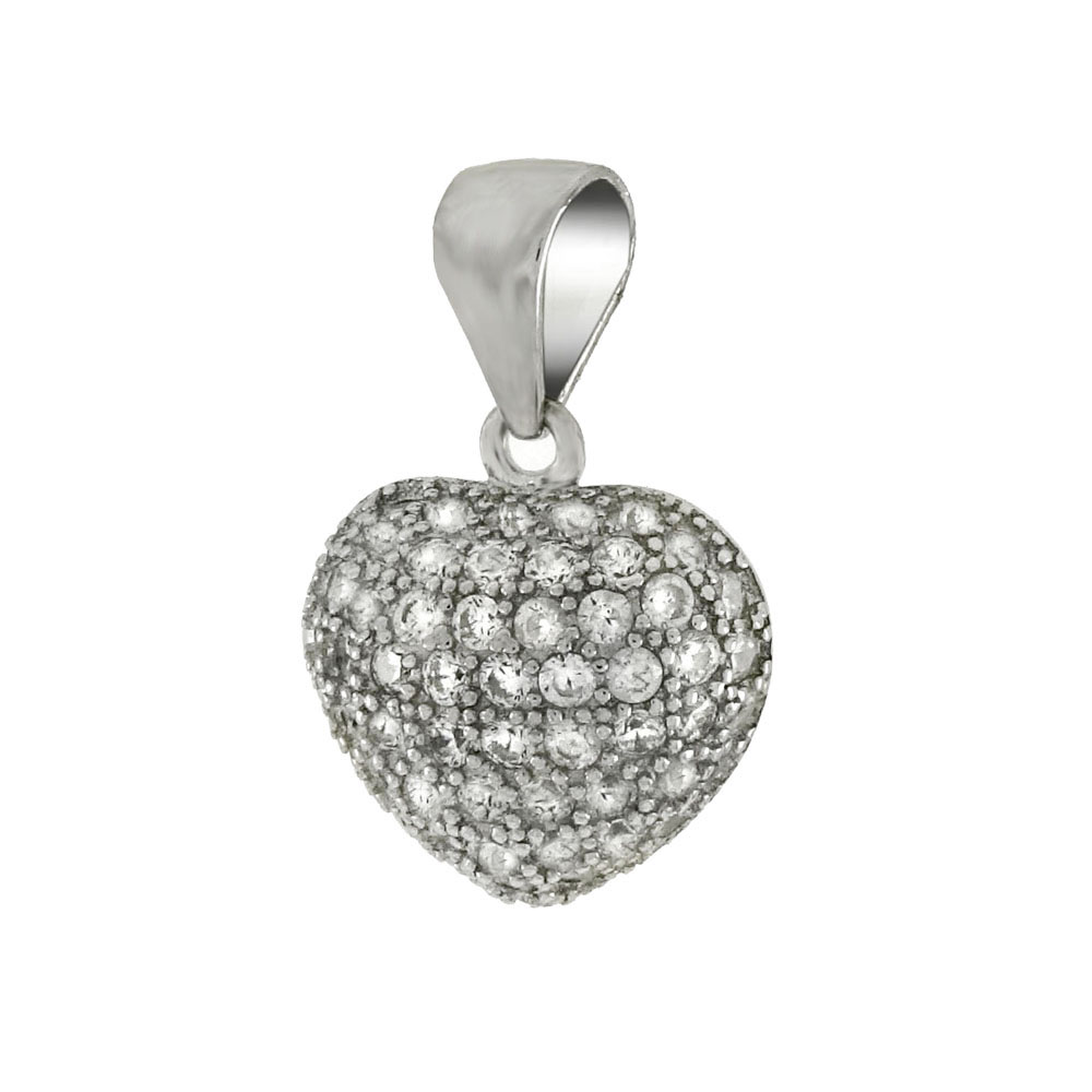 Sterling Silver Micro Pave Cubic Zirconia Heart Pendant