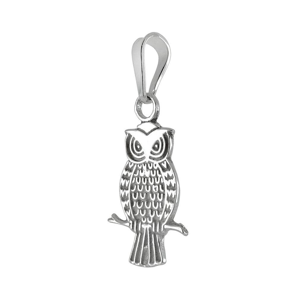 Sterling Silver Owl High Polished Pendant