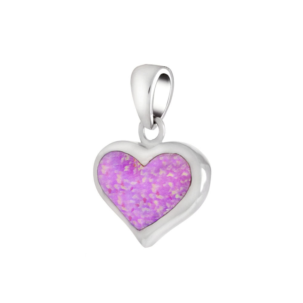 Sterling Silver Simulated Pink Opal Heart Pendant