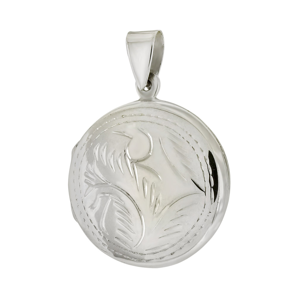 Sterling Silver Round Engraved Locket Pendant