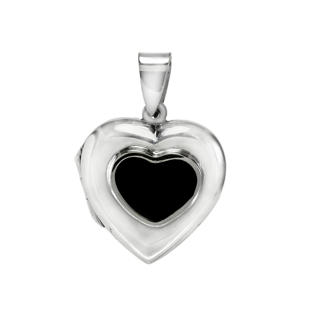 Sterling Silver Black Onyx Heart Locket Pendant