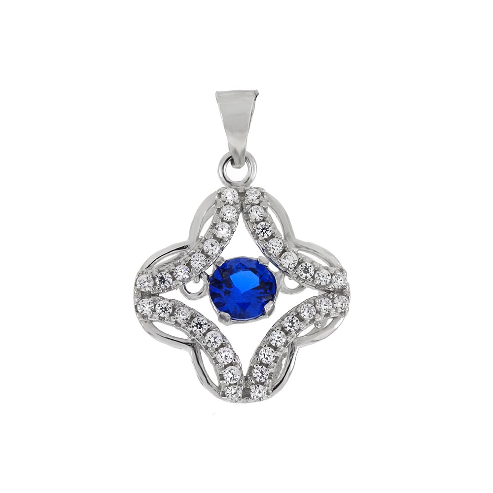 Sterling Silver Blue CZ In Motion Pendant