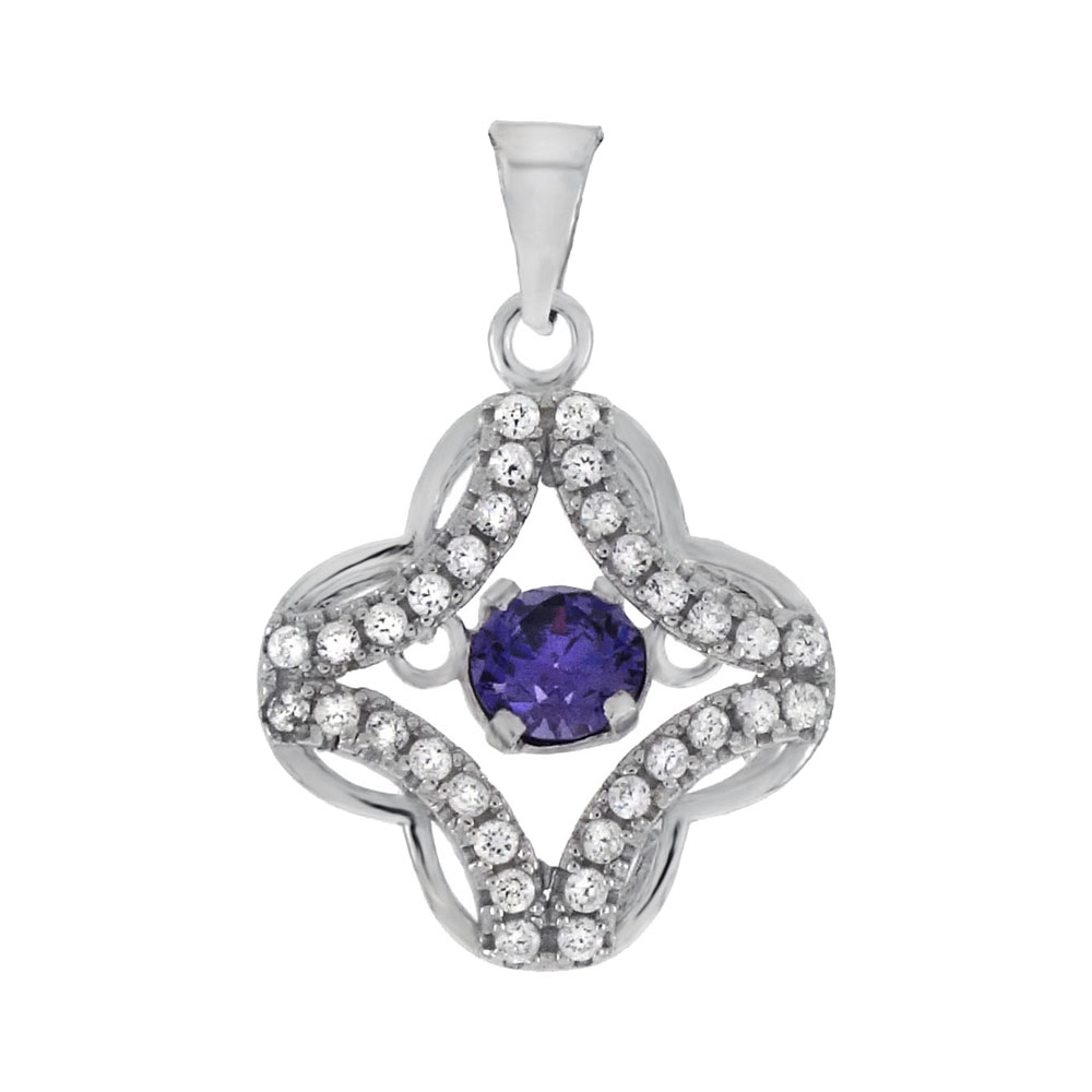 Sterling Silver Amethyst CZ In Motion Pendant
