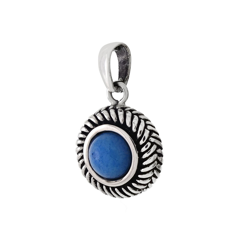 Sterling Silver Cabochon Blue Oxidized Pendant