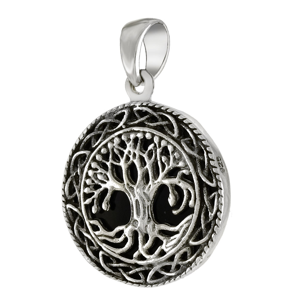 Sterling Silver Tree Of Life Black Oxidize Pendant