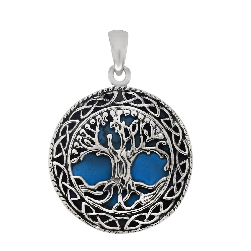 Sterling Silver Tree Of Life Blue Oxidize Pendant