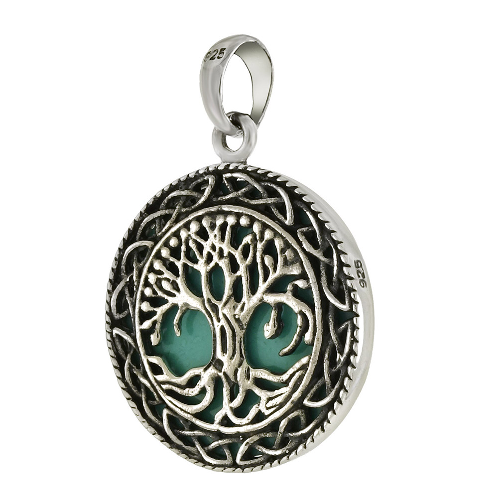 Sterling Silver Tree Of Life Green Oxidize Pendant