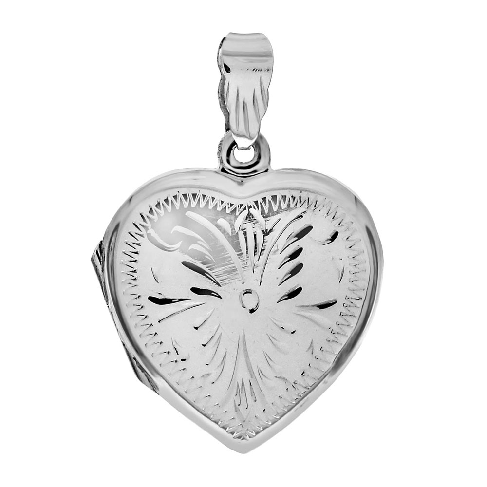 Sterling Silver Engraved Heart Locket Pendant