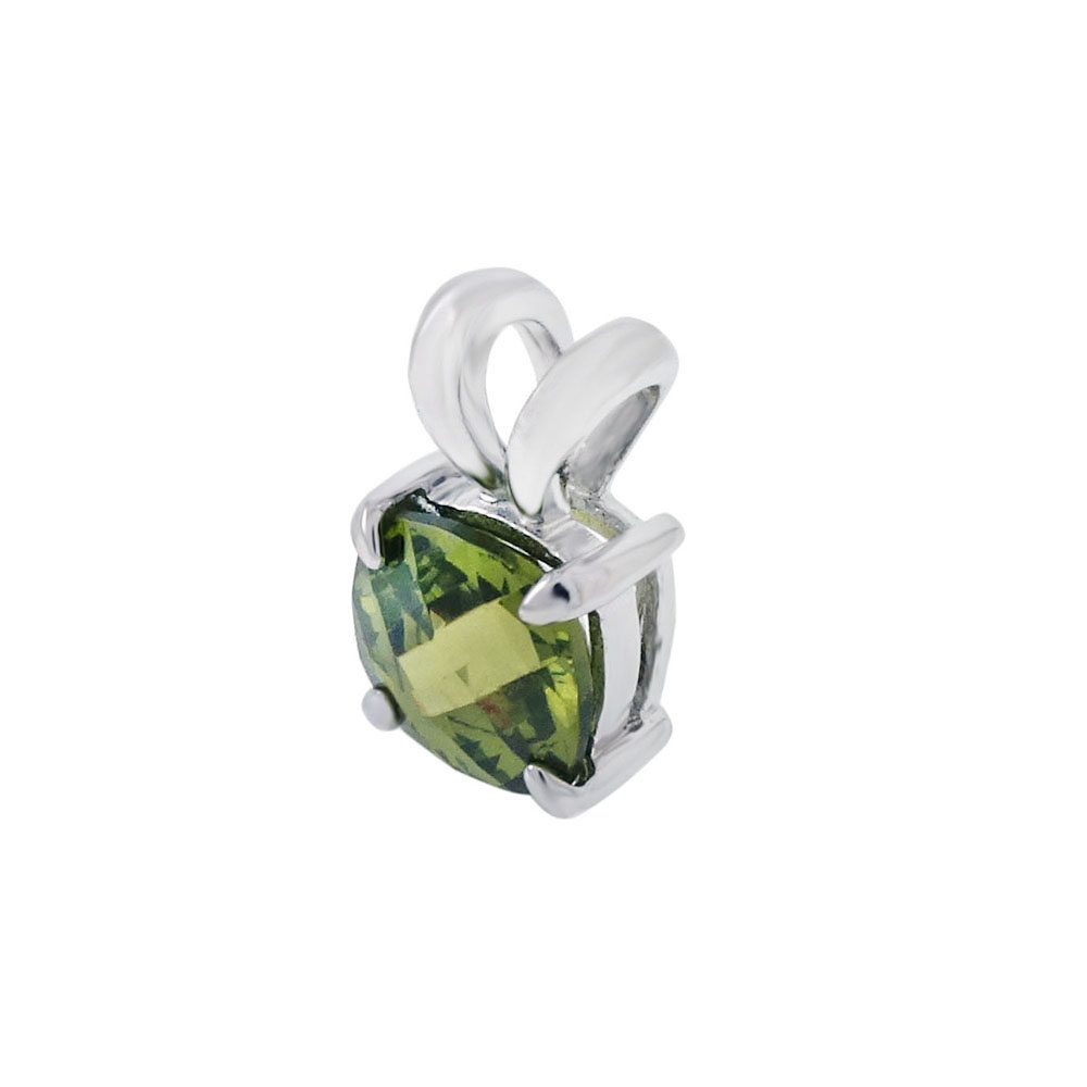 Sterling Silver Cushion Cut Green Cubic Zirconia Pendant
