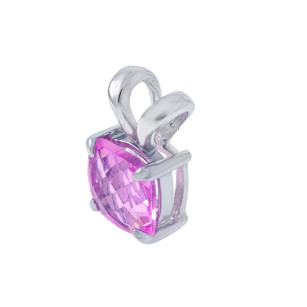Sterling Silver Cushion-Cut Pink Cubic Zirconia Pendant