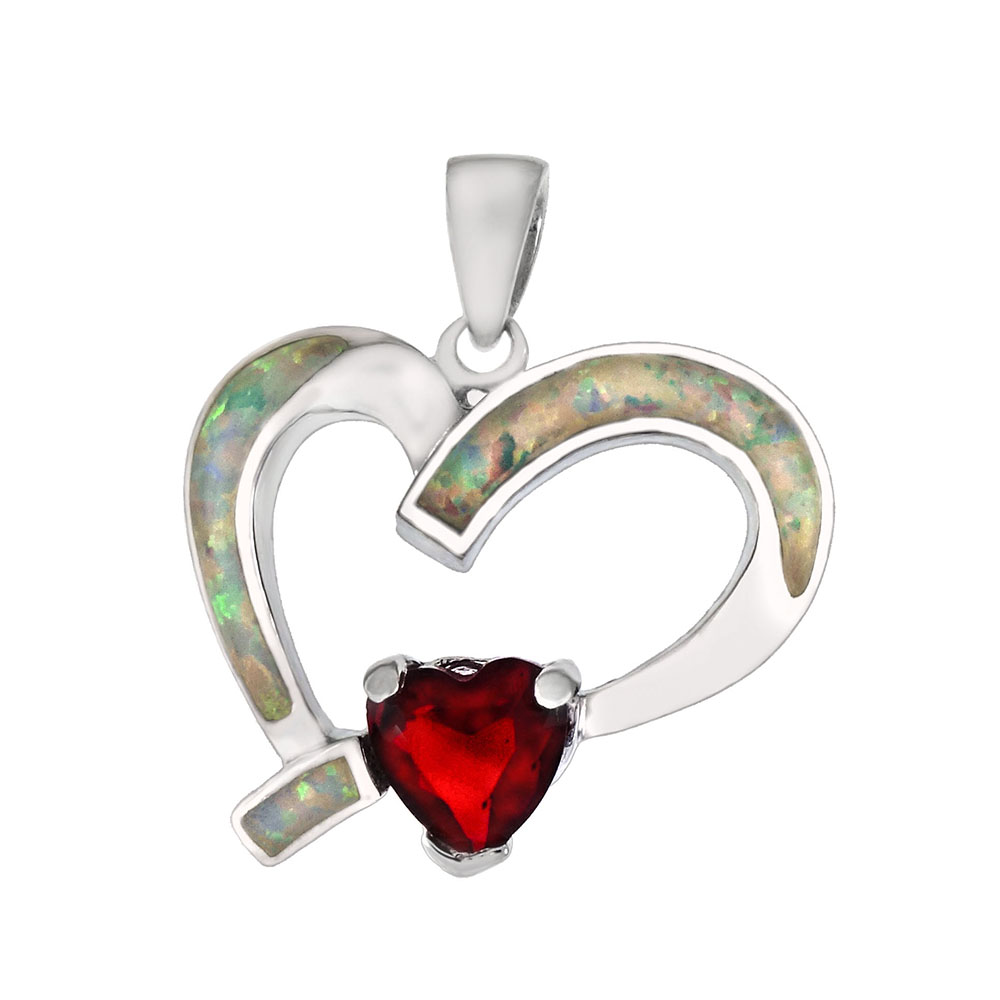 Sterling Silver Red CZ W. Simulated White Opal Heart Pendant