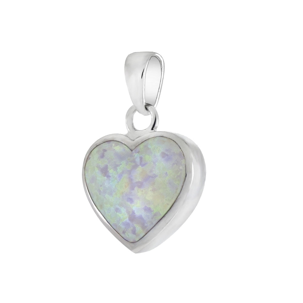 Sterling Silver Simulated White Opal Heart Pendant