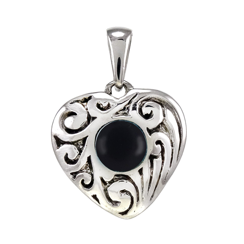 Sterling Silver Heart W. Black  Onyx Oxidized Pendant