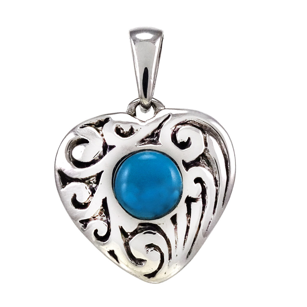 Sterling Silver Heart W. Simulated Blue Turquoise Oxidize Pendant