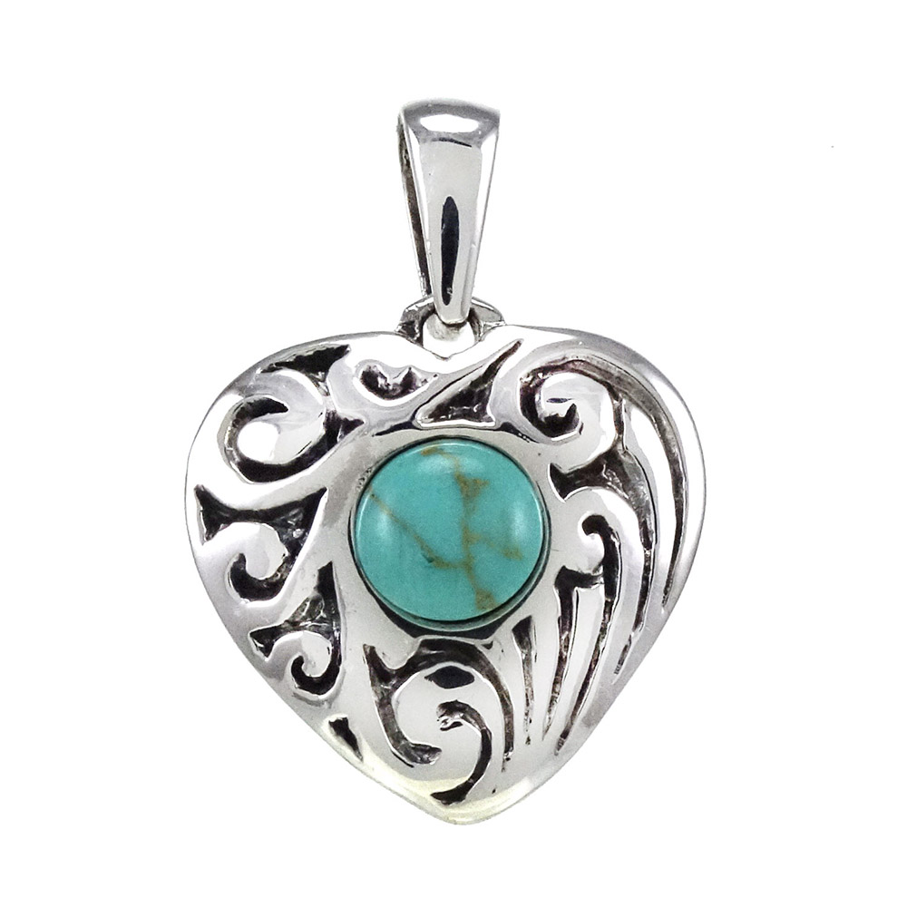 Sterling Silver Heart W. Simulated Turquoise Oxidize Pendant