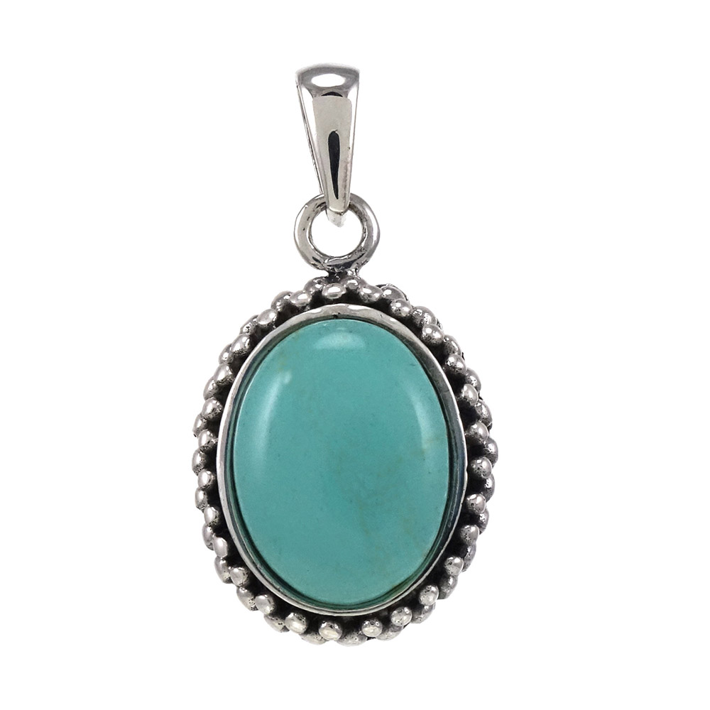 Sterling Silver Oval Simulated Blue Turquoise Oxidized Pendant