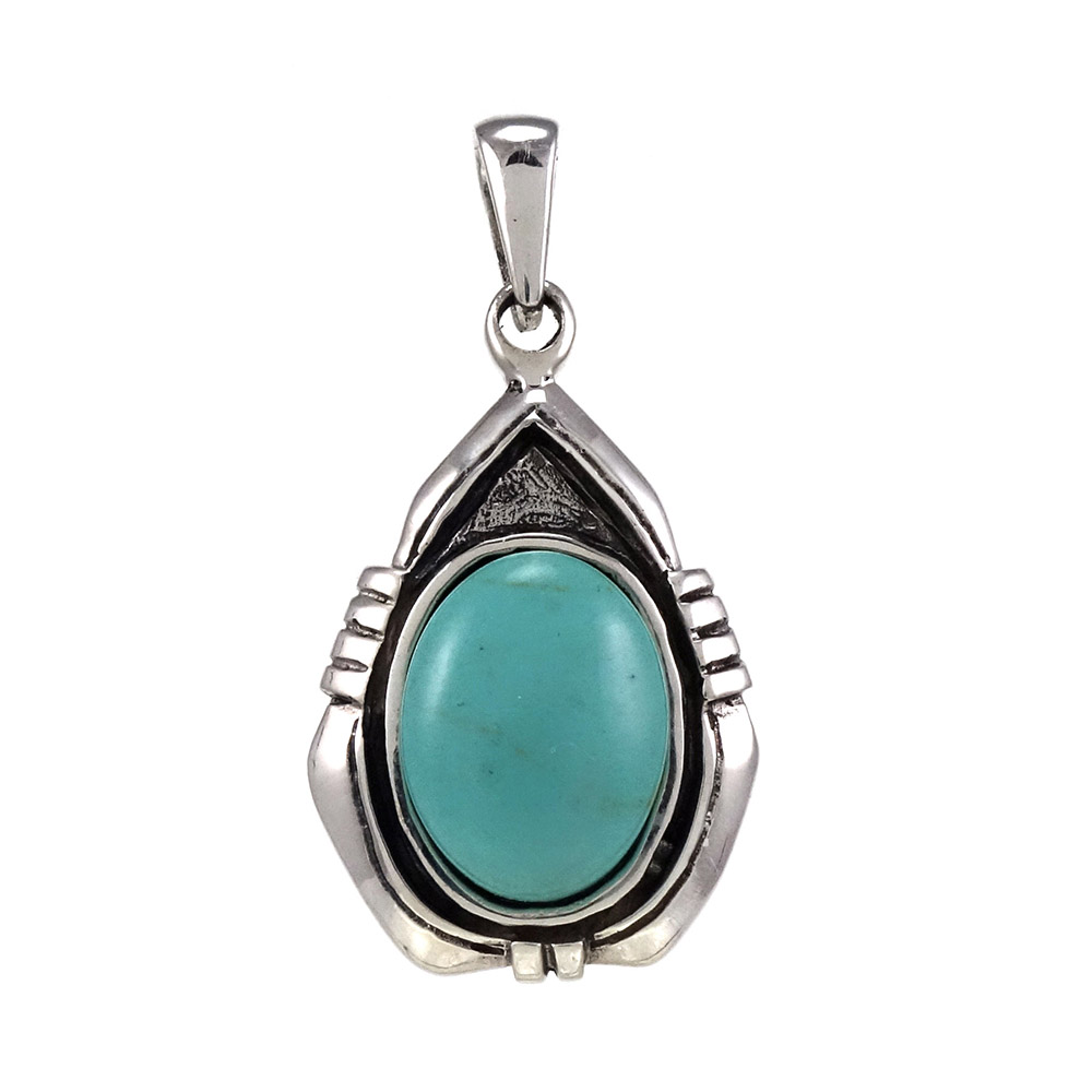 Sterling Silver Simulated Oval Blue Green Turquoise Oxidized Pendant