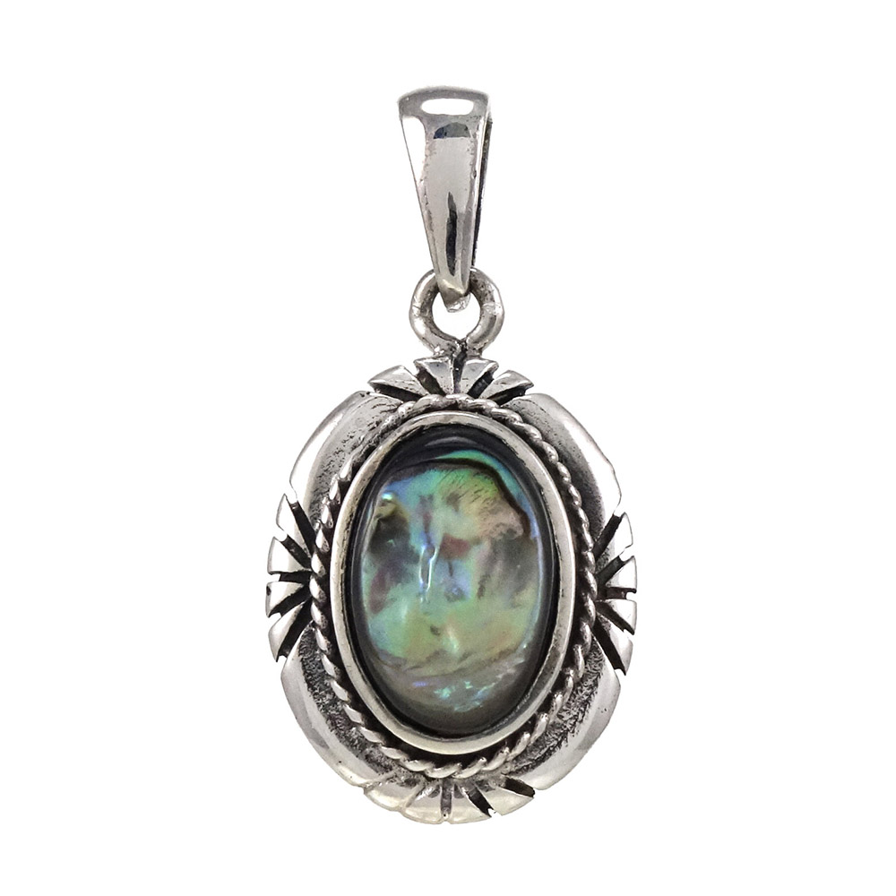 Sterling Silver Oval Abalone Oxidized Pendant