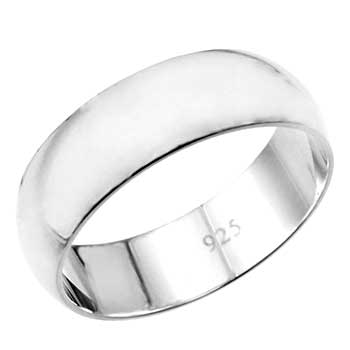 .925 Sterling Silver 7MM Plain Wedding Band Ring