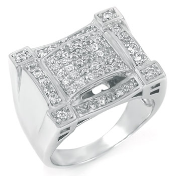 .925 Sterling Silver Hip Hop Pave Round CZ Men Ring