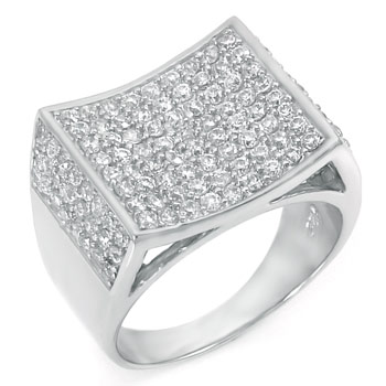 .925 Sterling Silver Hip Hop Pave Setting Round CZ Square Ring