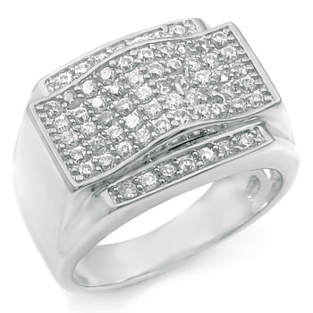 .925 Sterling Silver Hip Hop Pave Setting Round CZ Ring