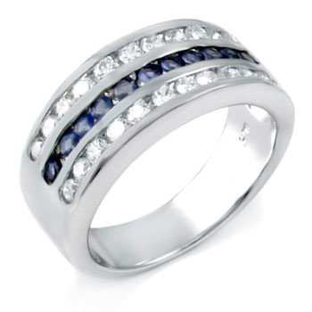925 Sterling Silver sapphire & clear CZ Men Ring