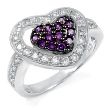Sterling Silver Hear Shape Amethyst & Clear Round CZ Ring