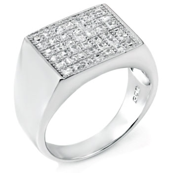 Sterling Silver Pave CZ Hip Hop Ring