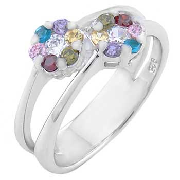 Sterling Silver Cubic Zirconia Multi Color Flower CZ Ring