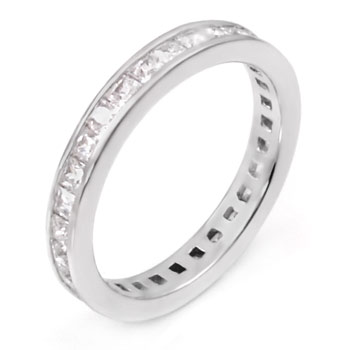 Sterling Silver Rhodium Cubic Zirconia Eternity Princess Cut CZ Ring