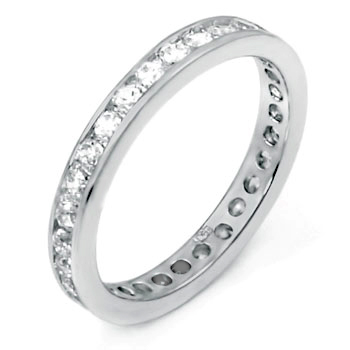 Sterling Silver Eternity Round CZ 1.8MM