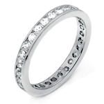 Sterling Silver Rhodium Cubic Zirconia Eternity Round Cut CZ Ring