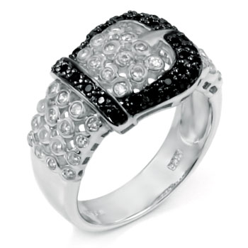 Sterling Silver Black & White Cubic Zirconia Belt Buckle Ring