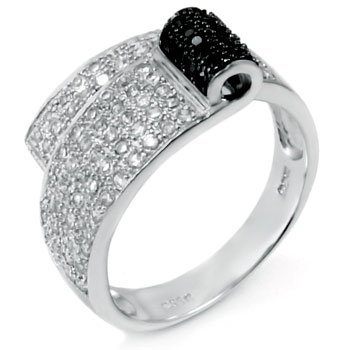 Sterling Silver Cubic Zirconia Black & Clear Round CZ Ring