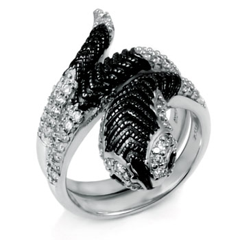 925 Sterling Silver Black & White CZ Cobra Ring