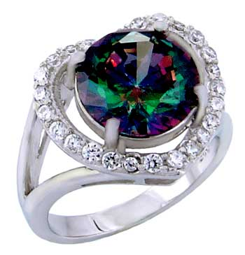 .925 Sterling Silver 9mm Round Rainbow Topaz & CZ Heart Shape Ring