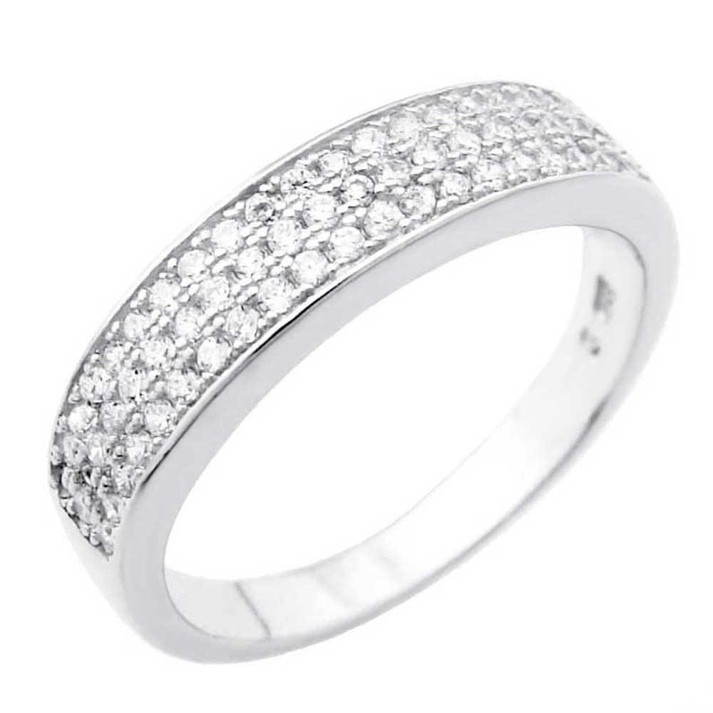 925 Silver Three Lines Pave Setting CZ Ring