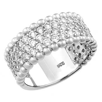 Sterling Silver Three Lines Pave CZ Band Ring