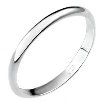 .925 Sterling Silver 2MM Plain Wedding Band Ring