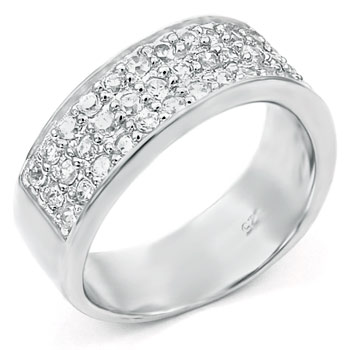 Sterling Silver Cubic Zirconia Round CZ Men's Ring